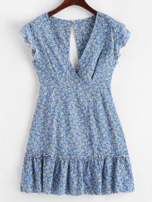 معقود الظهر الأزهار طباعة سوربليس اللباس مضيئة - الحرير الأزرق S