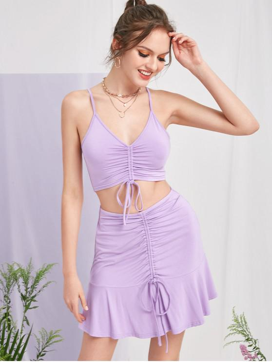 trendy ZAFUL Cinched Cami Flounce Skirt Set - LILAC S