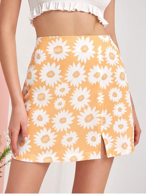 new ZAFUL Flower Print Slit Mini A Line Skirt - GOLDENROD L