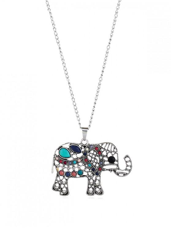 women's Retro Alloy Resin Elephant Hollow Out Necklace - SILVER