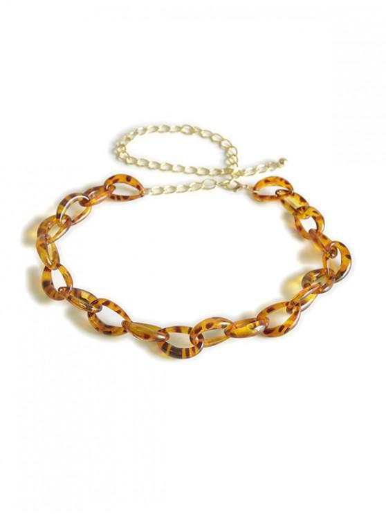 Cadena de la cintura de eslabones de leopardo transparente - Amarillo Brillante