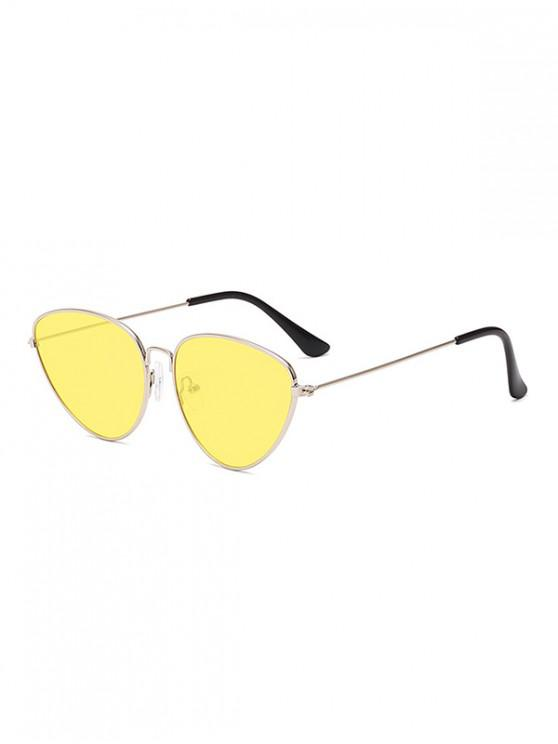 unique Unisex Light Metal Frame Sunglasses - YELLOW
