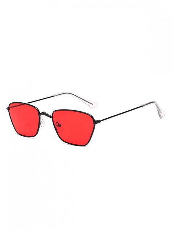 Gafas de sol vintage de metal con pequeño rectángulo - Rojo