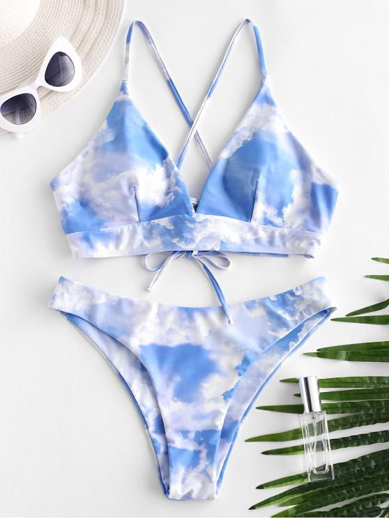 shops ZAFUL Sky Print Lace Up Padded Bikini Swimsuit - MULTI-A L