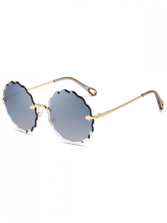 buy Wavy Round Rimless Frame Sunglasses - MARBLE BLUE