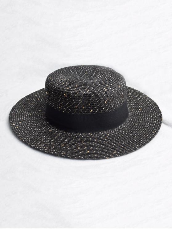 Correa Redonda Diseño Sombrero De Paja De Sol - Negro