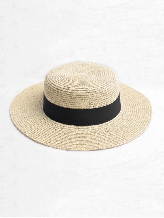 Correa Redonda Diseño Sombrero De Paja De Sol - Beige