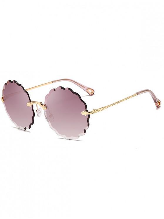 Gafas de sol sin montura con montura redonda ondulada - Púrpura Oscuro