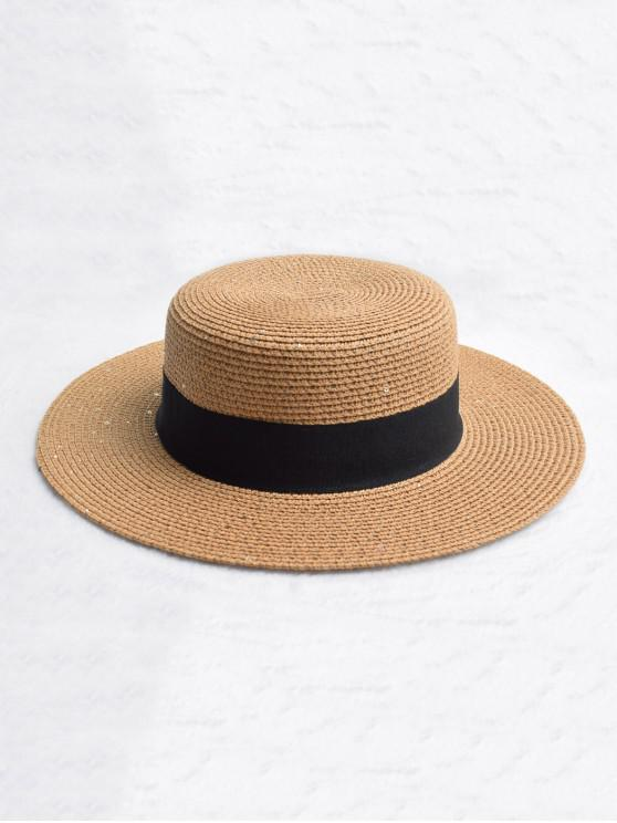 fancy Round Strap Design Straw Sun Hat - CAMEL BROWN