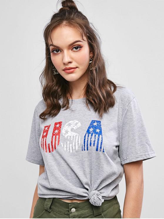unique American Flag Letter Graphic Longline Tee - GRAY M