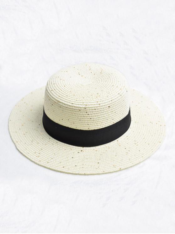 affordable Round Strap Design Straw Sun Hat - WHITE