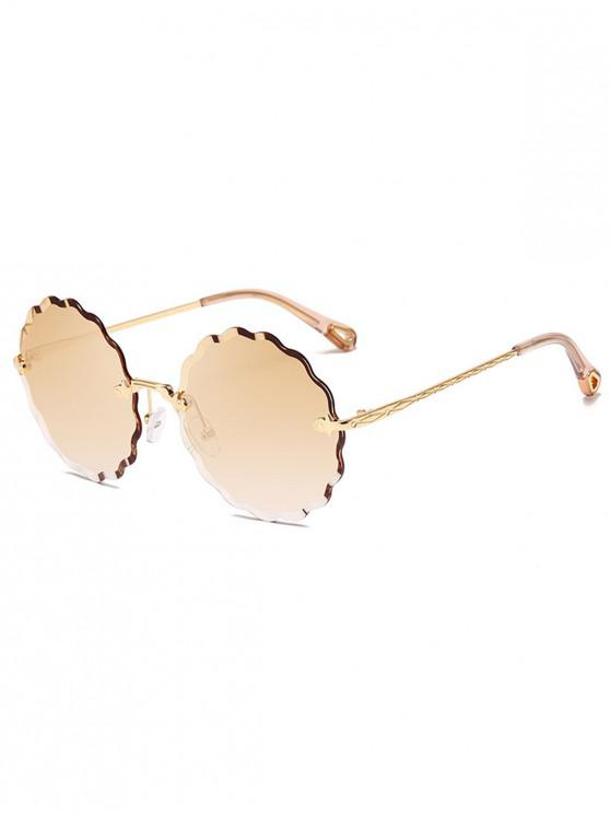 womens Wavy Round Rimless Frame Sunglasses - TAN
