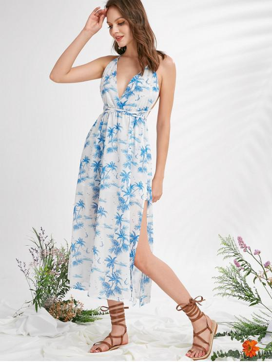 fashion ZAFUL Criss Cross Coconut Trees Plunge Slit Midi Dress - MULTI S