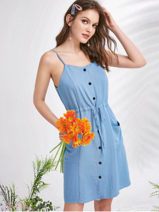 womens ZAFUL Drawstring Pockets Button Up Cami Dress - DENIM BLUE S