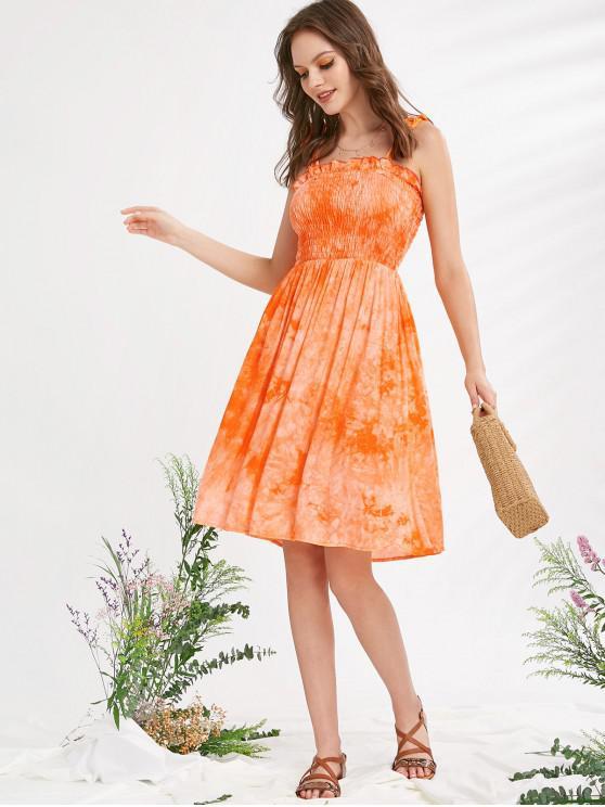 ZAFUL Tie Dye frilled Smocked un vestido de línea - Salmón Claro L