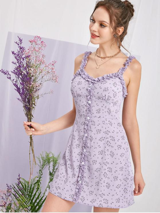 best ZAFUL Ditsy Print Lettuce Button Embellished Dress - MAUVE M