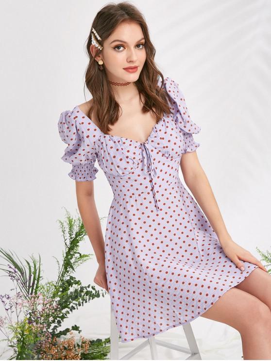 ZAFUL Polka Dot Tie Shirred vestido de lechera - Color de malva L