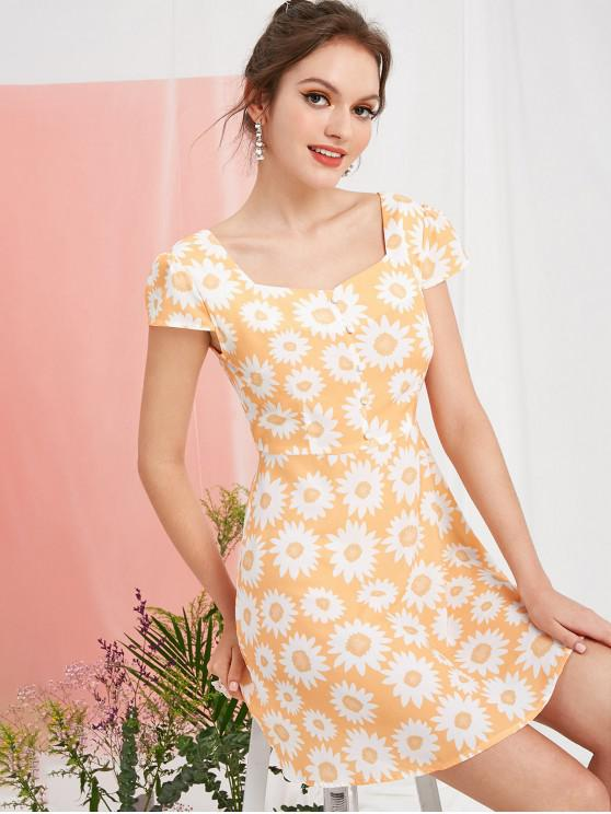 outfit ZAFUL Smocked Buttoned Sunflower Milkmaid Dress - GOLDENROD L