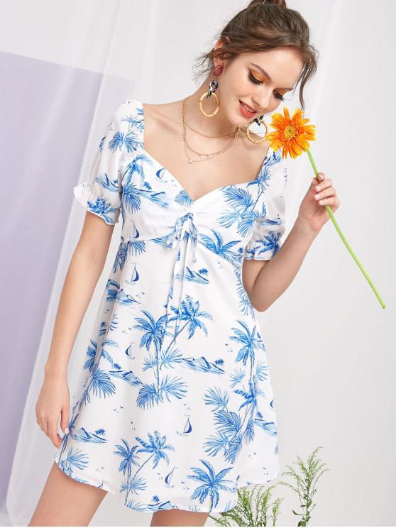 trendy ZAFUL Coconut Palm Tie Milkmaid Dress - MULTI M
