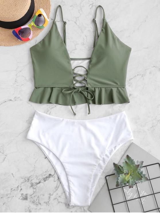 fancy ZAFUL Lace Up Frilled Hem Color Block Tankini Swimwear - CAMOUFLAGE GREEN S