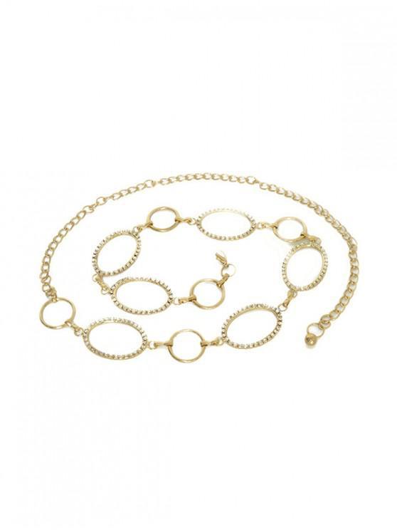 Cadena de cintura geométrica de aleación Rhinestoned - Oro