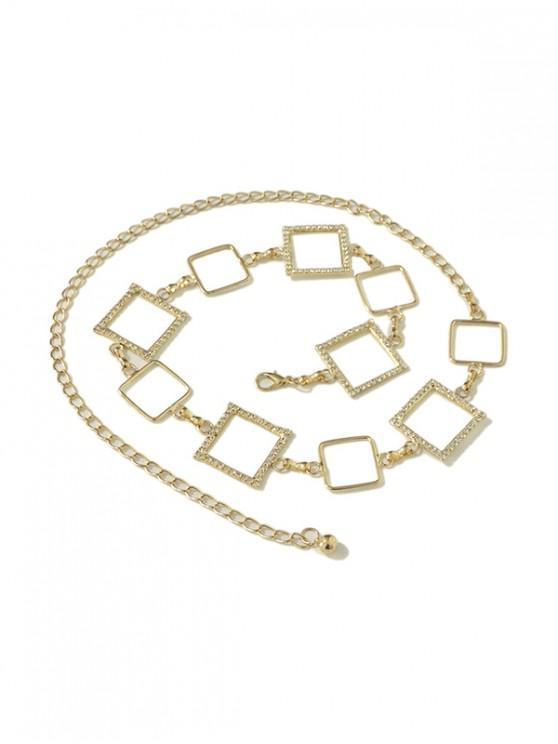 Cadena de cintura geométrica de aleación Rhinestoned - Marrón Dorado