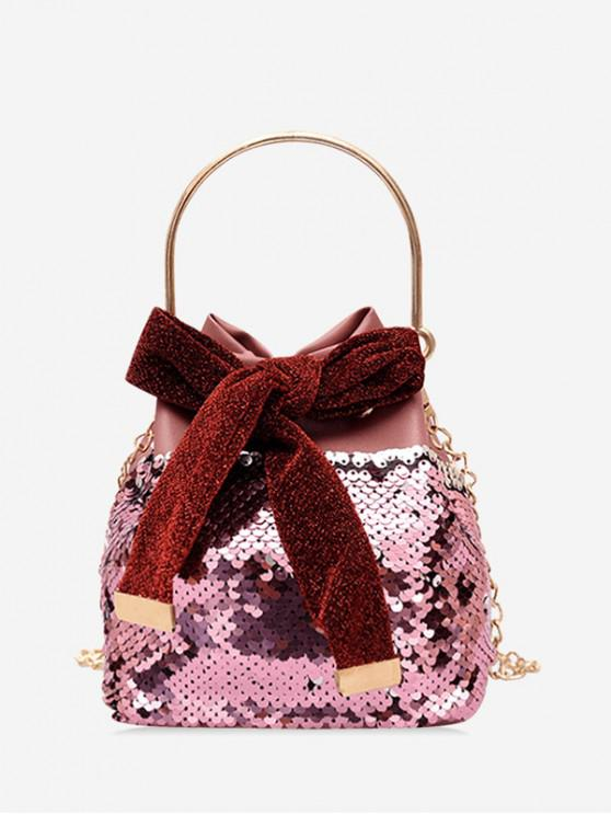 chic Sequins Design Bowknot Crossbody Bag - PINK CUPCAKE