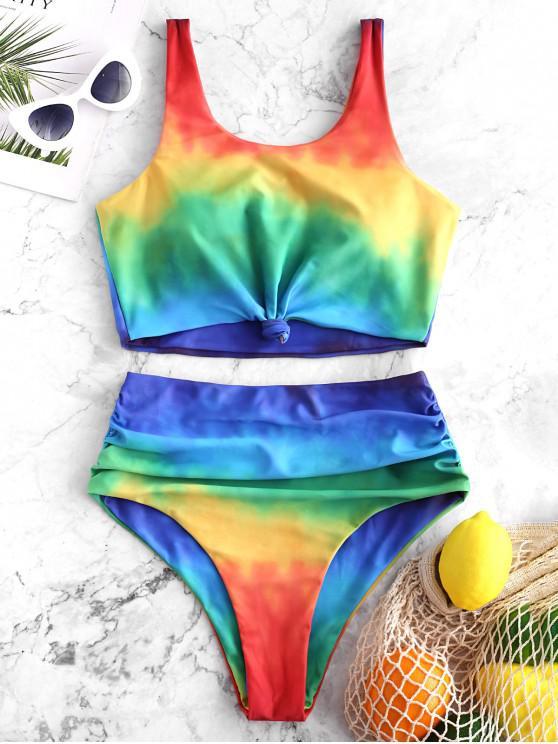 f9d1f206d5b sale ZAFUL Knot Ruched Rainbow Tie Dye Tankini Swimsuit - MULTI-A L