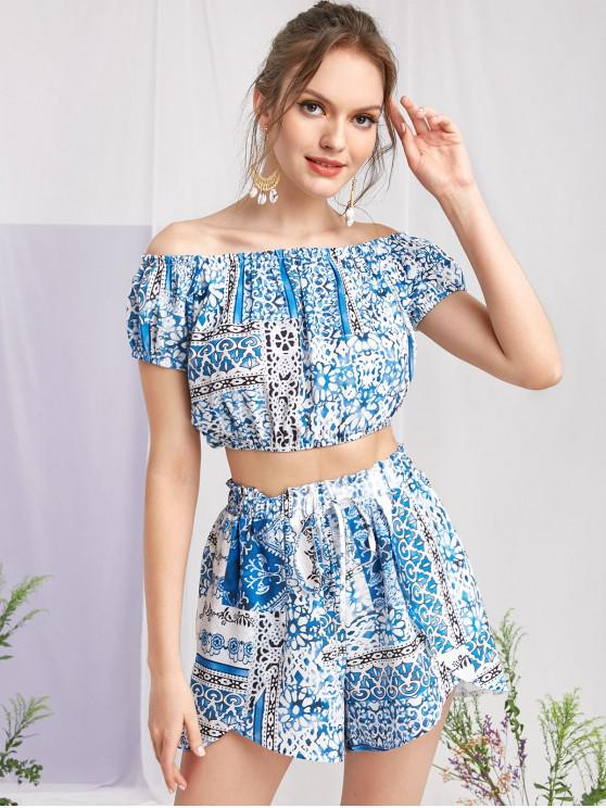 sale ZAFUL Printed Off Shoulder Crop Top and Shorts Set - MULTI S