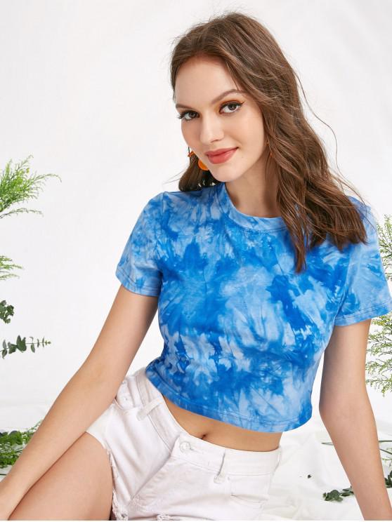 trendy Short Sleeve Tie Dye Cropped Tee - MULTI-A S
