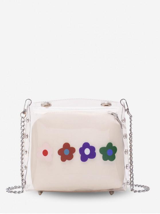 sale Flower Jelly Chain Crossbody Bag - MILK WHITE