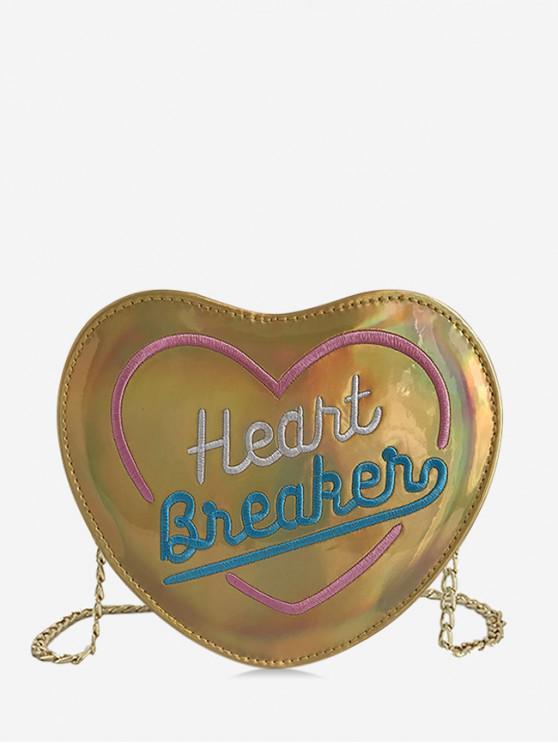 Bolso bandolera con diseño elegante en forma de corazón - Oro