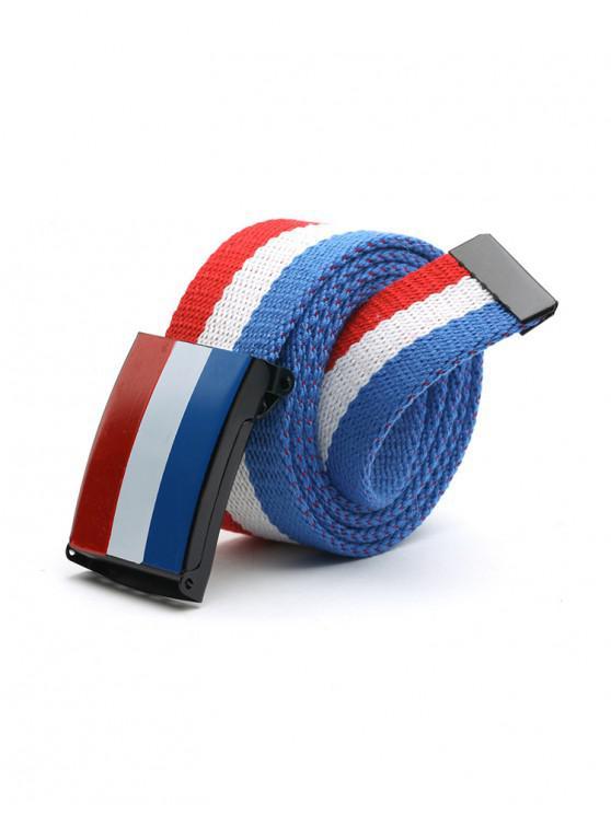fashion Color Block Canvas Belt - CRYSTAL BLUE