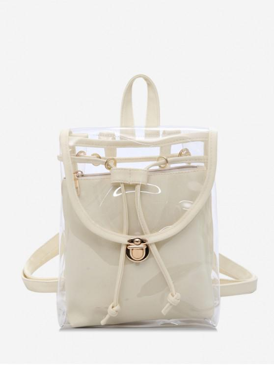 chic Cover Transparent Hasp Satchel - BEIGE