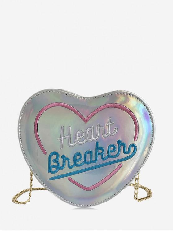Bolso bandolera con diseño elegante en forma de corazón - Plata