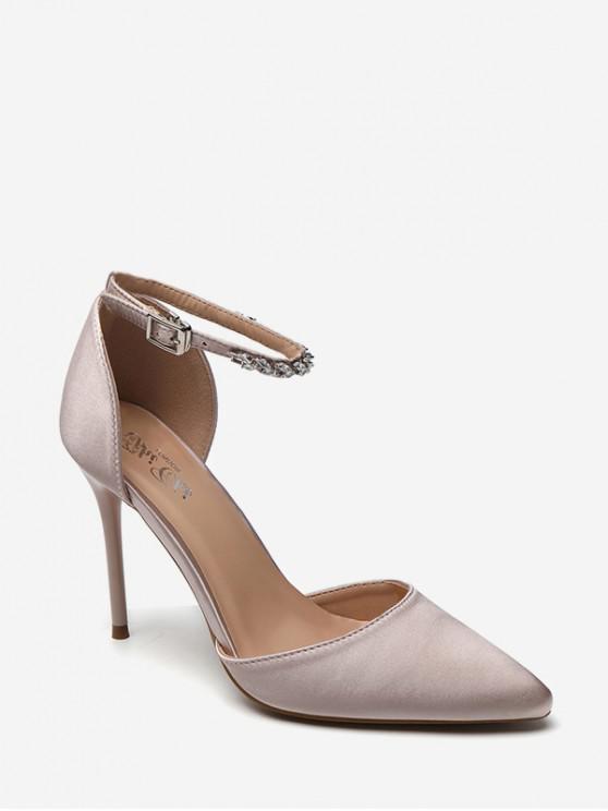 Sandalias de tacón alto con punta en el tobillo - Champán EU 36