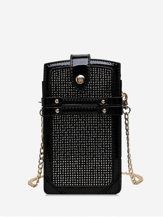 Bolso de cadena de teléfono brillante - Negro