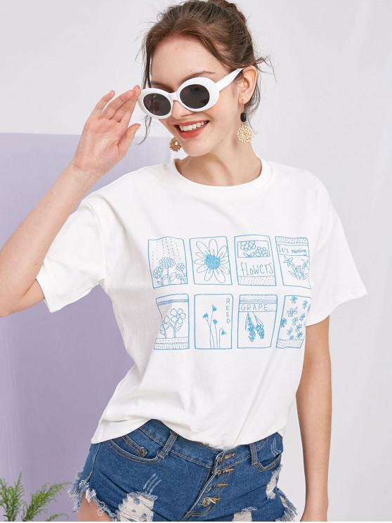 ZAFUL Floral Plant Fruit Graphic Basic Tee - Blanco S