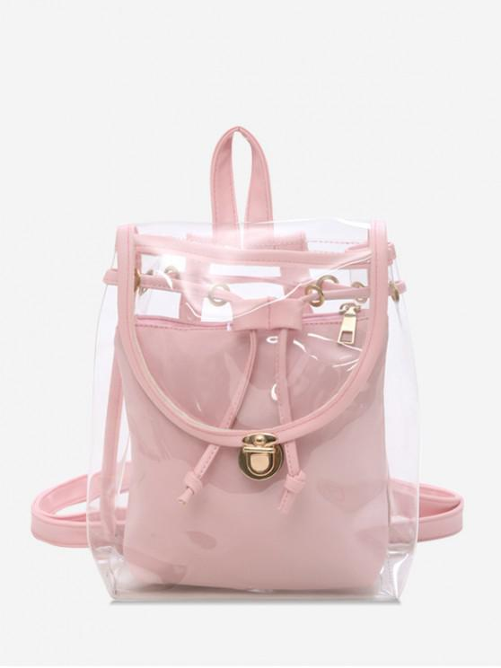 outfit Cover Transparent Hasp Satchel - PIG PINK