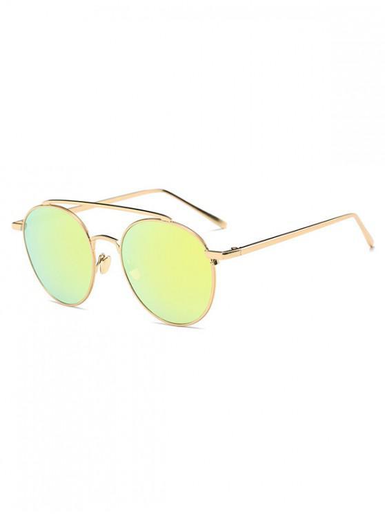 Gafas de sol redondas con diseño de aleación - Oro