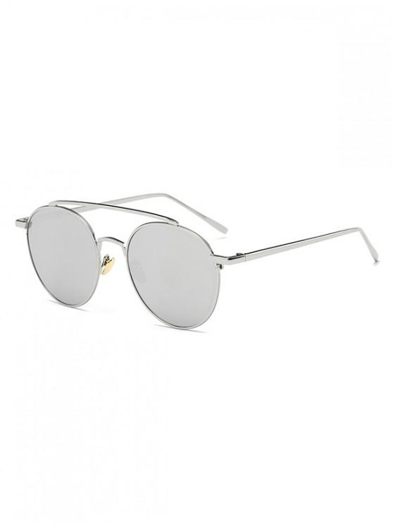 lady Round Design Alloy Frame Sunglasses - COOL WHITE