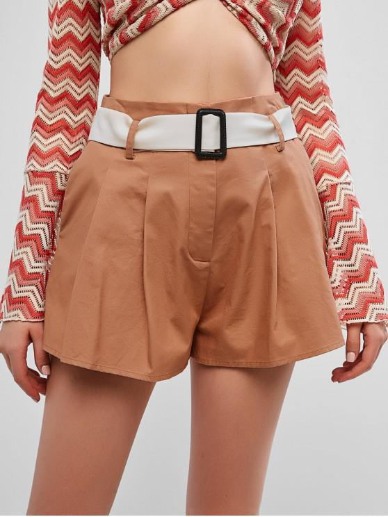 buy ZAFUL Belted High Waisted Pocket Shorts - CHOCOLATE L