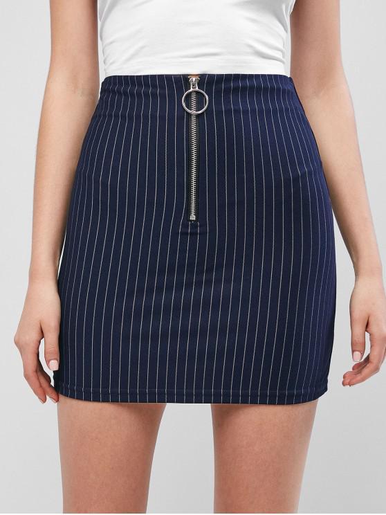 Minifalda de rayas con media cremallera - Azul S