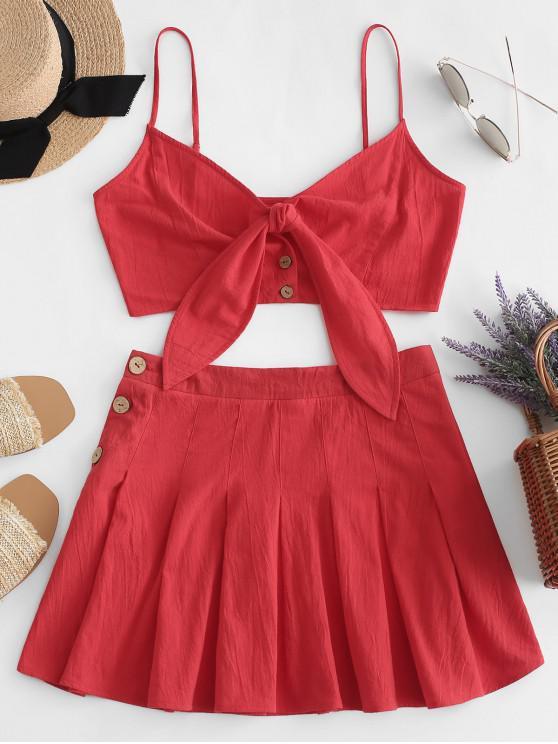 ZAFUL Knot Front Cami Top y botón falda plisada - Rojo de Rubí S