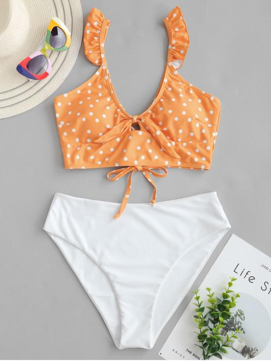 latest ZAFUL Polka Dot Ruffle Lace Up Tied Tankini Swimsuit - MANGO ORANGE L