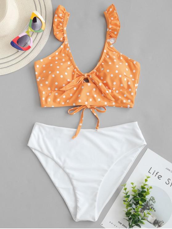 ZAFUL Polka Dot Ruffle Lace Up Tied Tankini traje de baño - Mango Naranja S