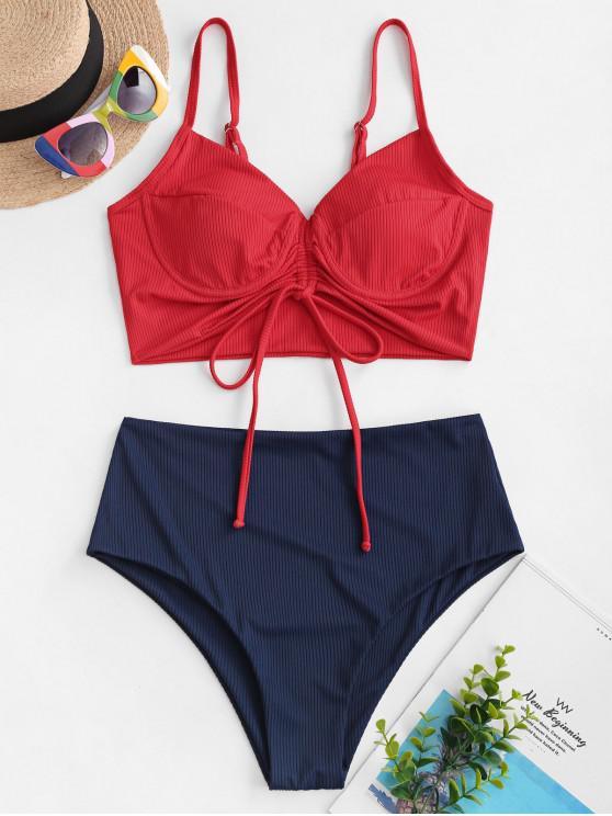 new ZAFUL Ribbed Cinched Underwire Tankini Swimwear - RED XL