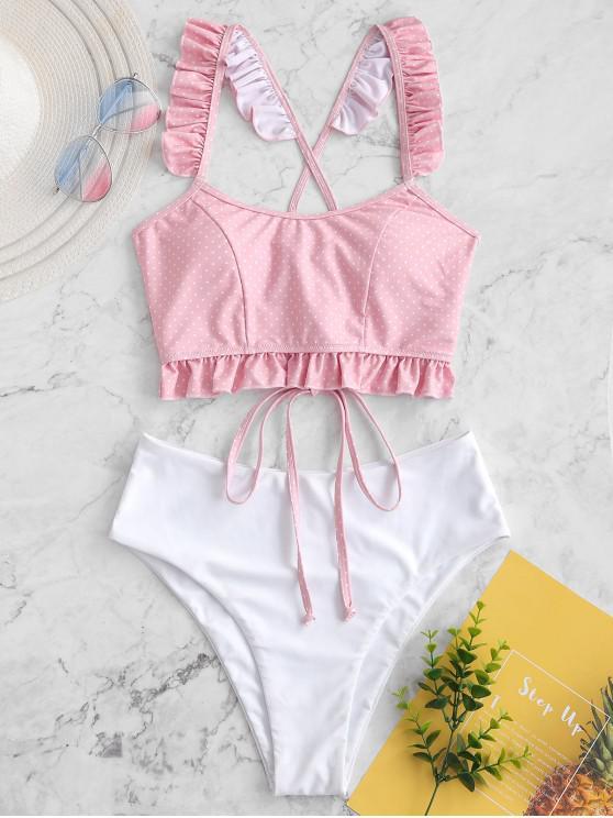 women's ZAFUL Ruffle Polka Dot Lace Up Tankini Swimsuit - LIGHT PINK M