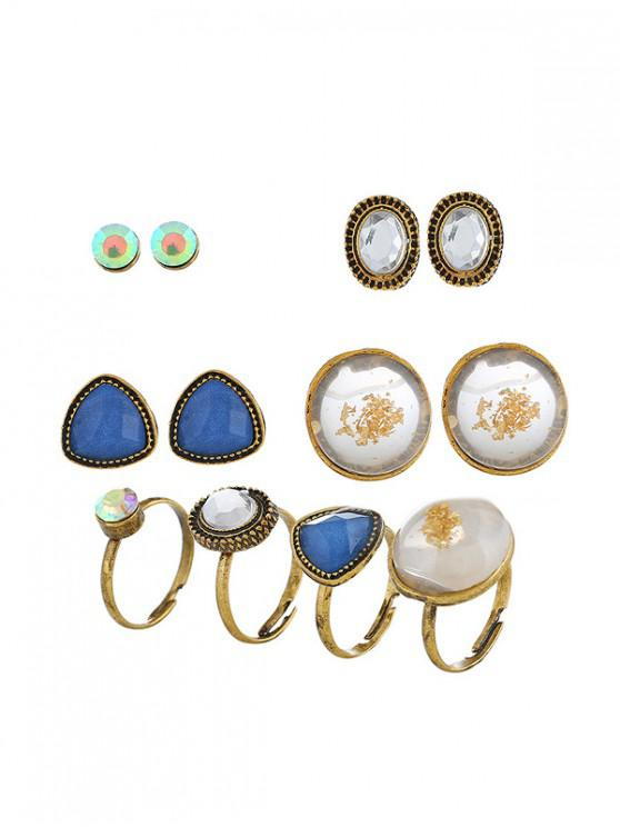 new Rhinestoned Geometric Earring with Ring Set - GOLD