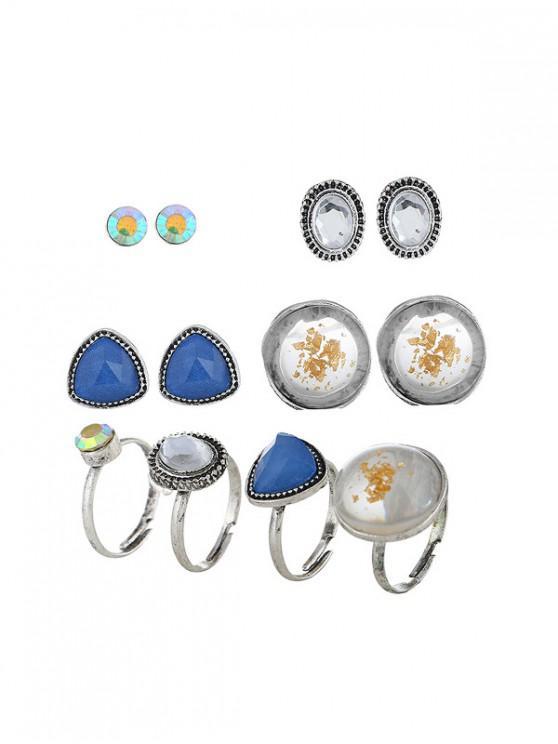 Rhinestoned Pendiente geométrico con conjunto de anillo - Plata